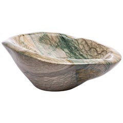 Large Green and White Shade Jasper Handcrafted Bowl from Madagascar
