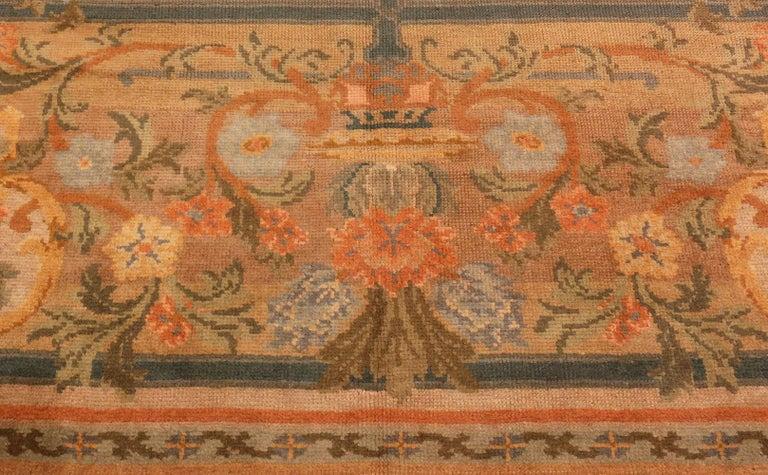 Art Nouveau Large Green Antique Spanish Savonnerie Carpet. Size: 15 ft 6 in x 19 ft For Sale