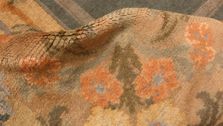 Hand-Knotted Large Green Antique Spanish Savonnerie Carpet. Size: 15 ft 6 in x 19 ft For Sale