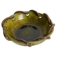 Large Green Ceramic Bowl by Grandjean Guillon