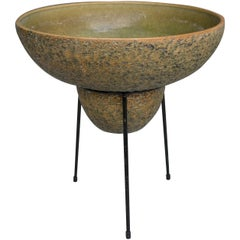 Large Green Ceramic Decorative Chasepot on a Metal Tripod Stand by Trio, 1965