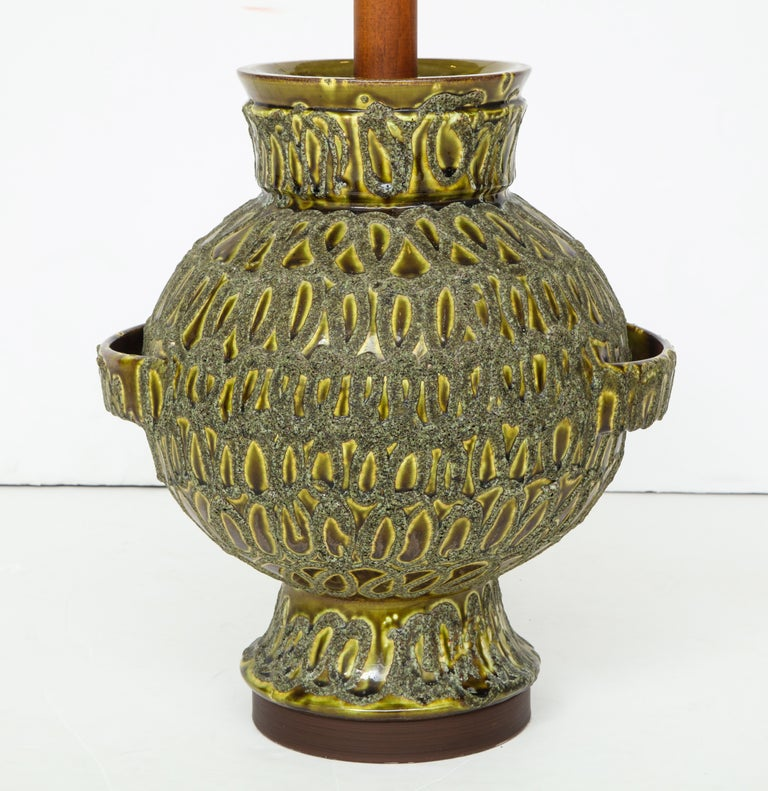 Large Green Ceramic Lamp For Sale 4