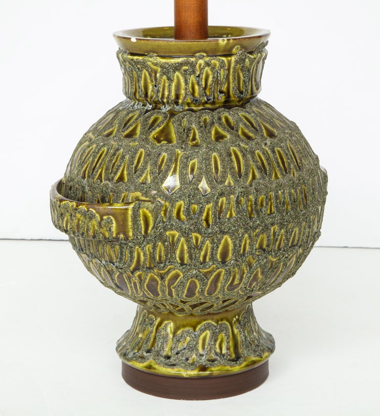 Large Green Ceramic Lamp For Sale 5