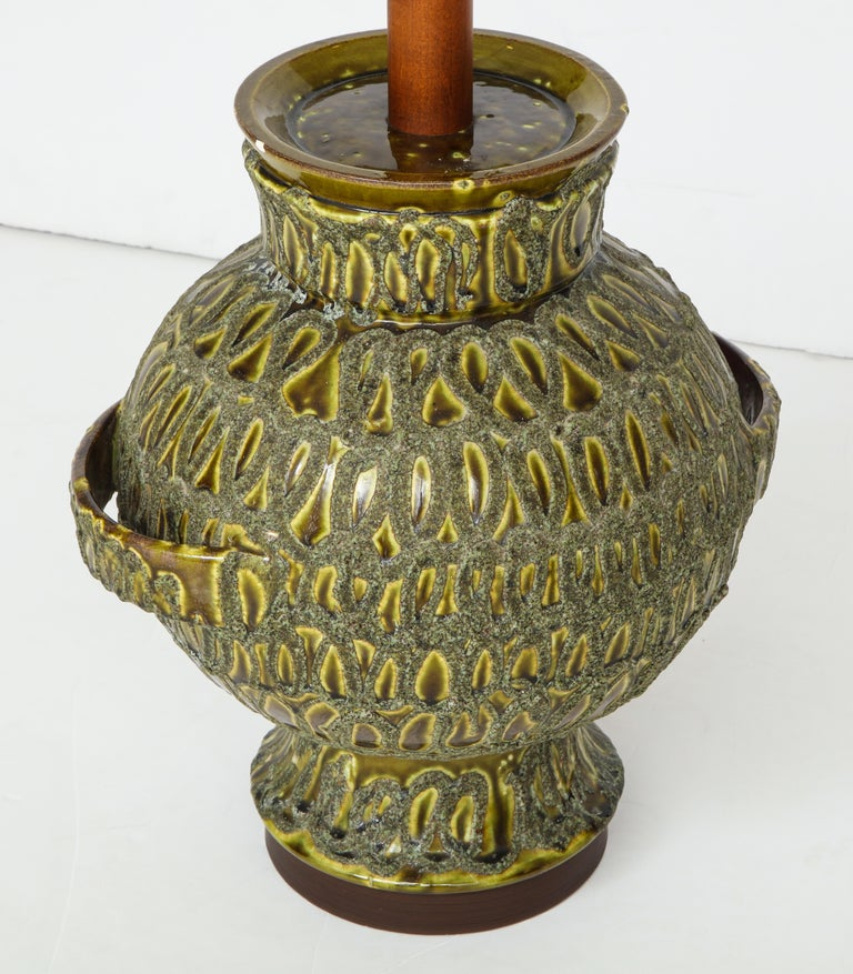 Large Green Ceramic Lamp For Sale 6