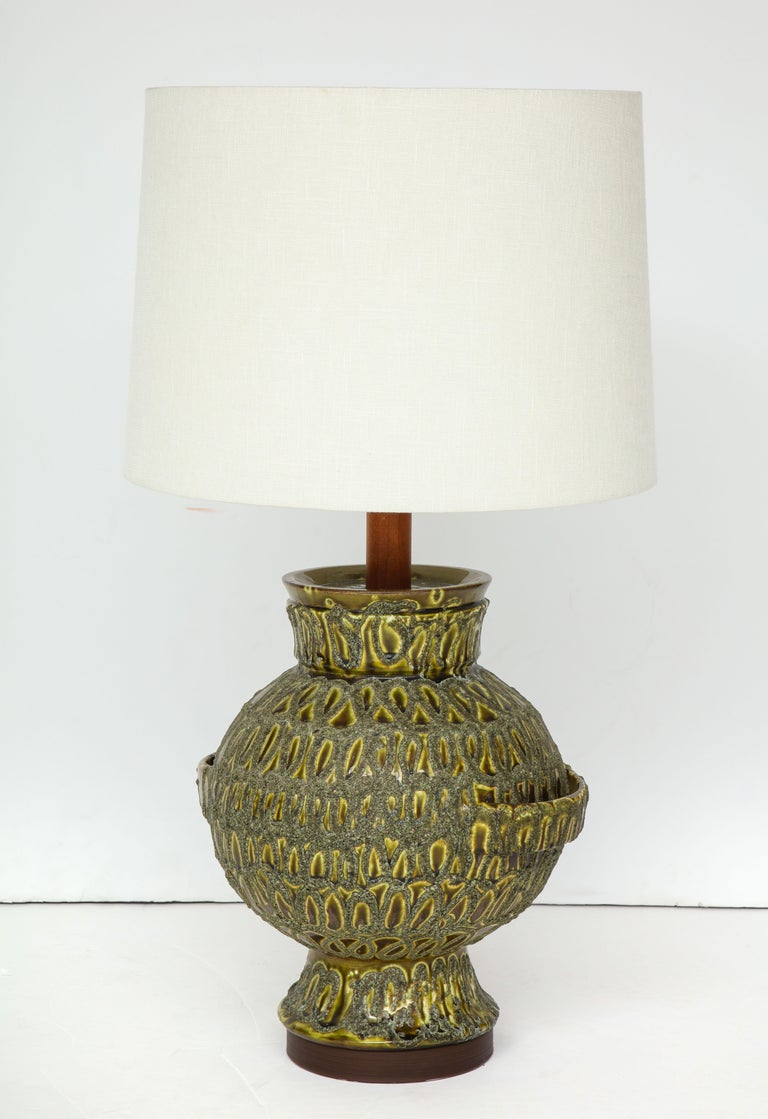 Italian Large Green Ceramic Lamp For Sale