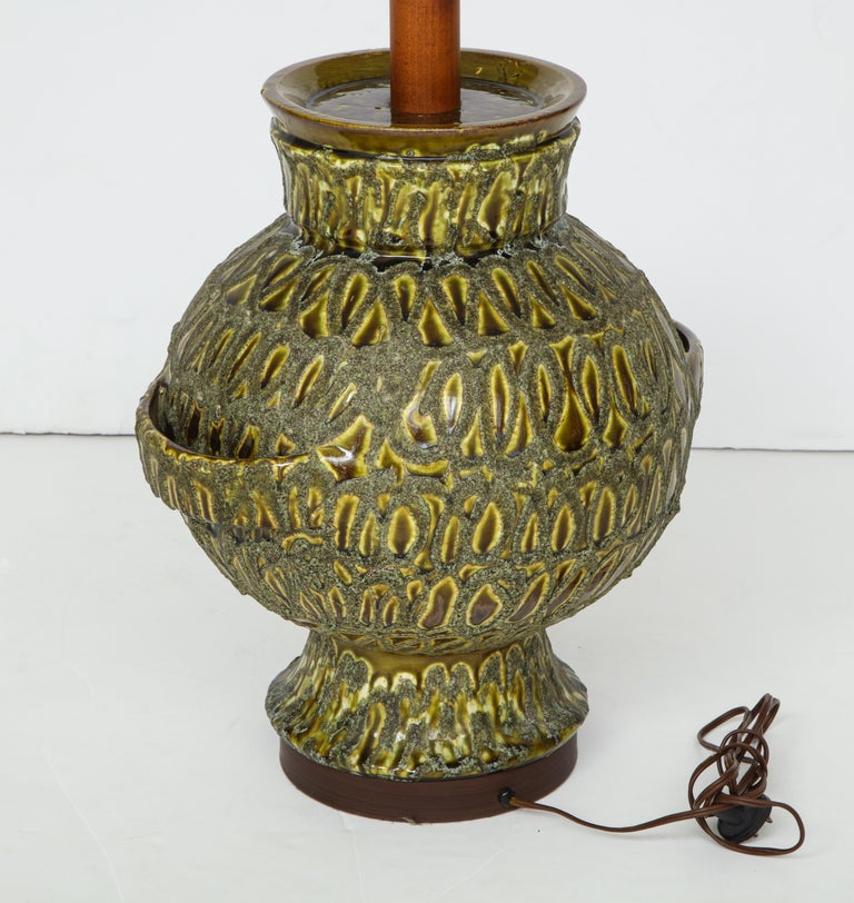 Large Green Ceramic Lamp For Sale 2