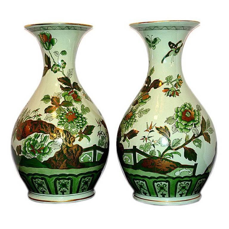 Large Green Chinoiserie Vases