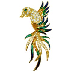 Large Green & Clear Crystals & Enamel Bird Brooch