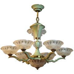Large Green Enameled Nine-Light Art Deco Chandelier by Ezan, circa 1930s
