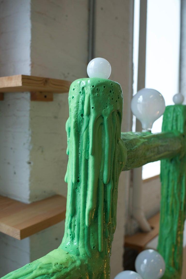 Modern Large Green Expandable Foam Floor Lamp by Joseph Algieri For Sale