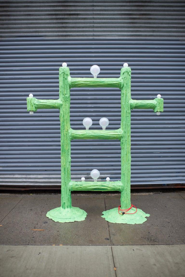 American Large Green Expandable Foam Floor Lamp by Joseph Algieri For Sale