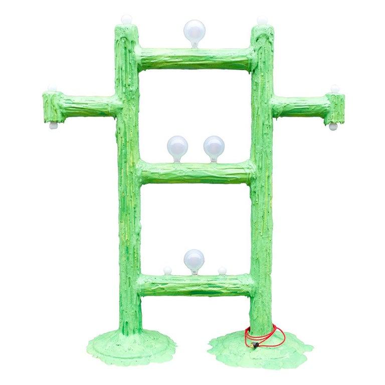Large Green Expandable Foam Floor Lamp by Joseph Algieri For Sale