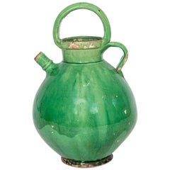 Large Green French Crockery Oil Vessel with handles