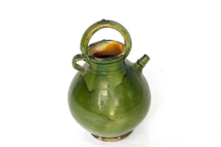 Glazed Large Green French Pottery Oil Vessel For Sale