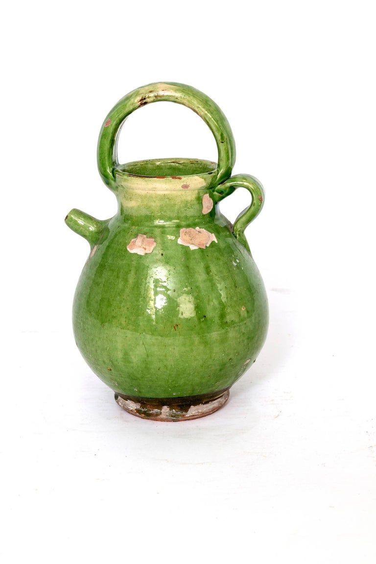 Large Green French Pottery Oil Vessel In Good Condition For Sale In Washington, DC