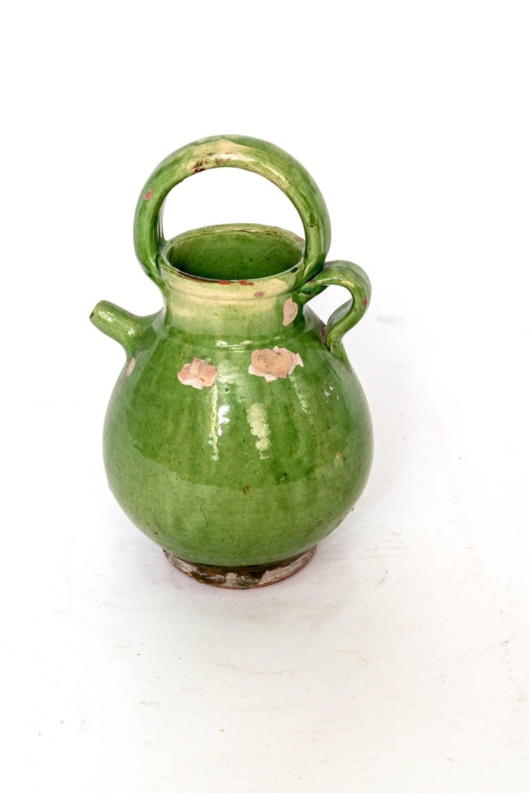 19th Century Large Green French Pottery Oil Vessel For Sale