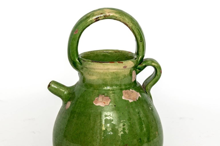 Large Green French Pottery Oil Vessel For Sale 1