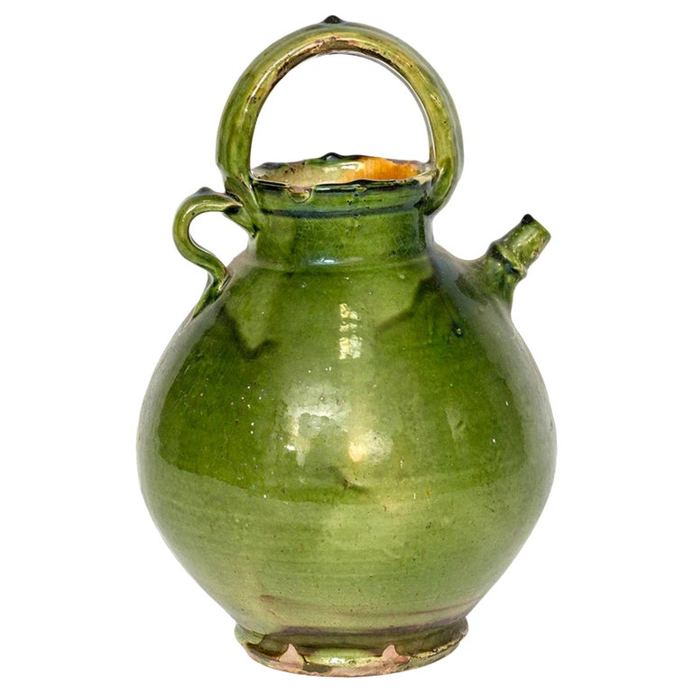Large Green French Pottery Oil Vessel For Sale