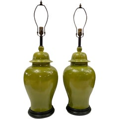 Large Green Ginger Jar Porcelain Table Lamps