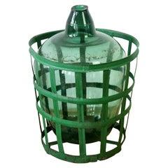 Large Green Glass Hungarian Demijohn, Amphora or Vase with Original Iron Basket
