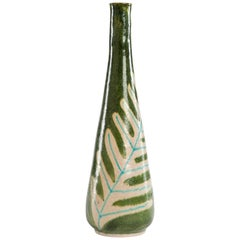 Large Green Glass Vase by Guido Gambone, 1960s