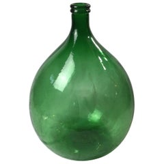 Large Green Glass Wine Demijohn Bottle
