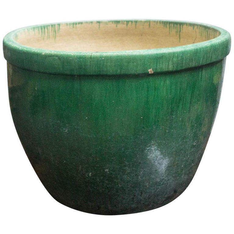 Large Green Glazed 16th 17th Century Chinese Fish Pot Or Planter For