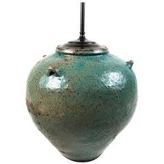 Large Green Glazed Art Pottery Lamp