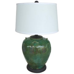 Large Green Glazed Terracotta Vessel Mounted as a Lamp