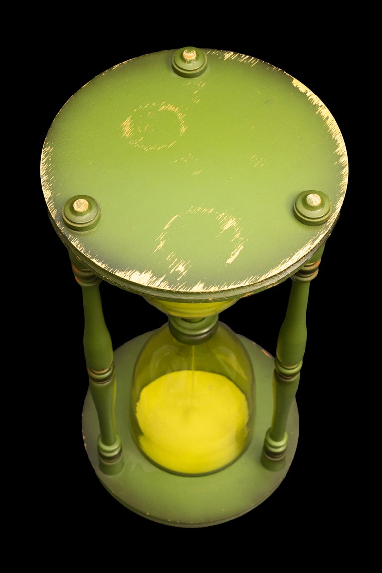 Glass Large Green Hourglass For Sale