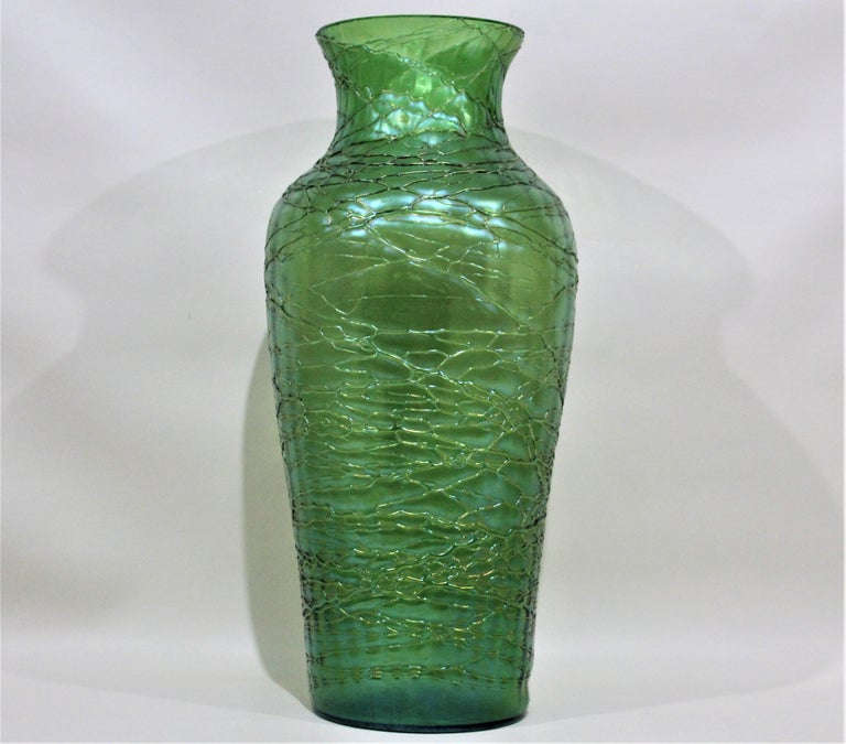 Art Nouveau Loetz  Large Green Iridescent Threaded Art Glass Vase For Sale