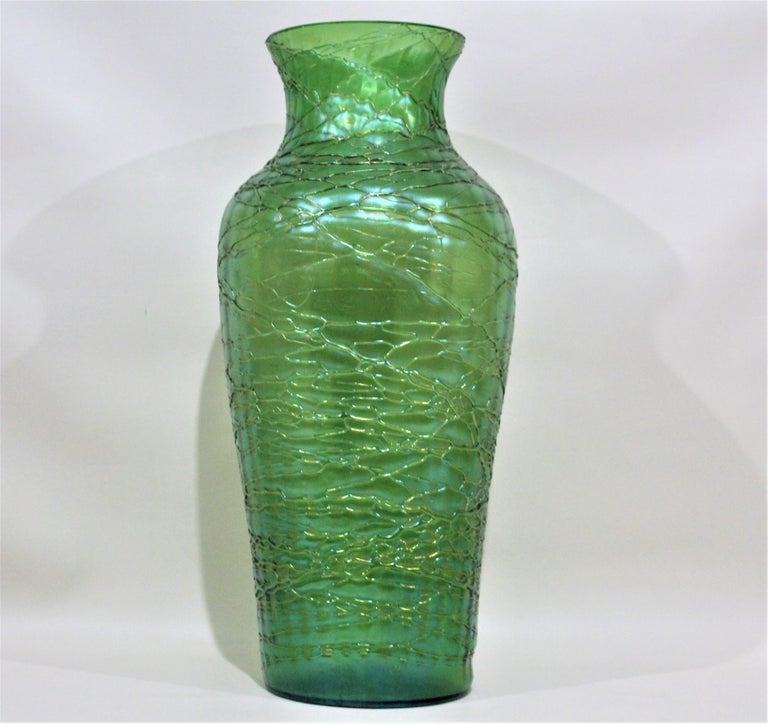 Czech Loetz  Large Green Iridescent Threaded Art Glass Vase For Sale