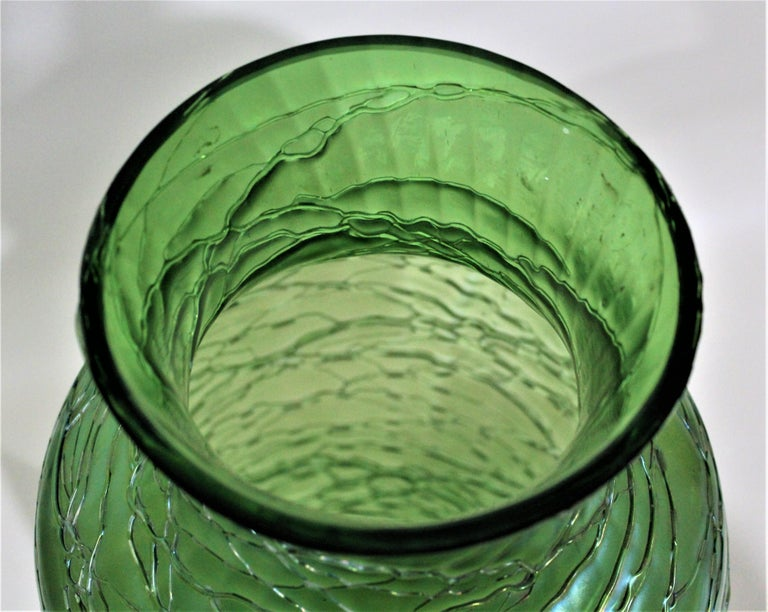 Hand-Crafted Loetz  Large Green Iridescent Threaded Art Glass Vase For Sale