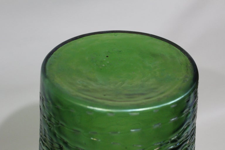 Loetz  Large Green Iridescent Threaded Art Glass Vase For Sale 1