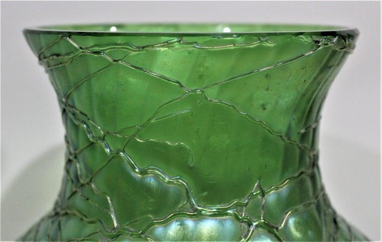 Loetz  Large Green Iridescent Threaded Art Glass Vase For Sale 2