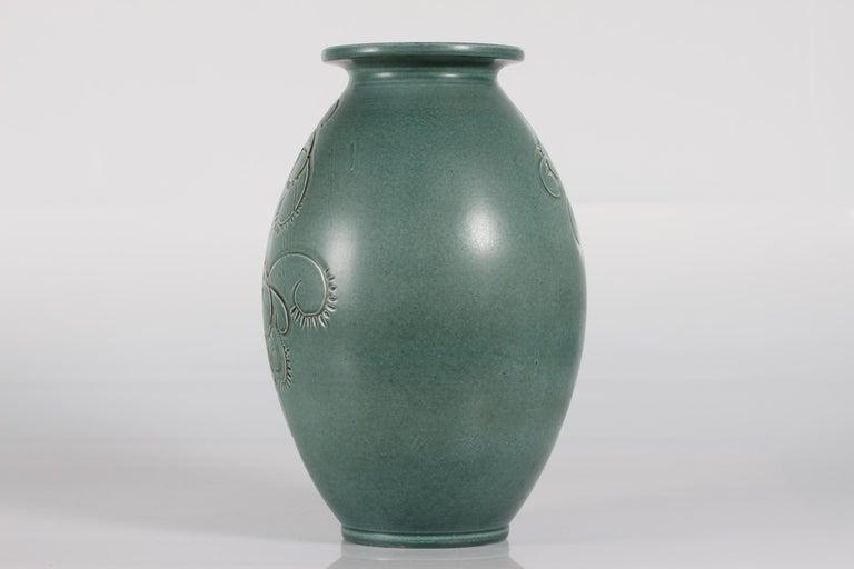 Mid-Century Modern Large Green Knabstrup Floor Vase by Danish Aksel Sigvald Nielsen from Midcentury For Sale