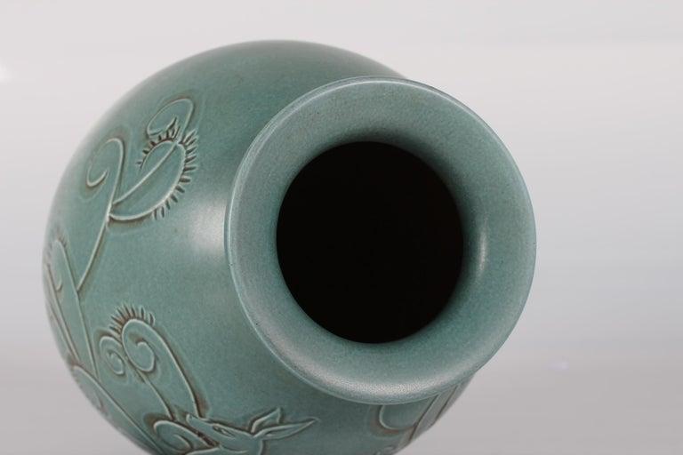 Glazed Large Green Knabstrup Floor Vase by Danish Aksel Sigvald Nielsen from Midcentury For Sale