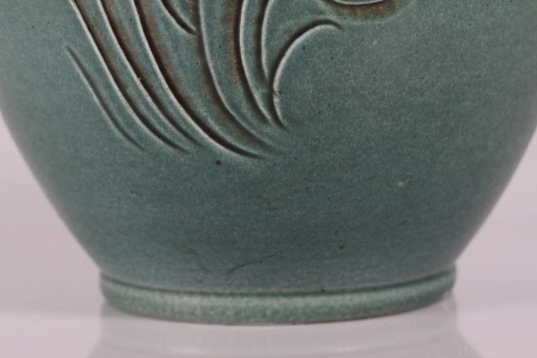 20th Century Large Green Knabstrup Floor Vase by Danish Aksel Sigvald Nielsen from Midcentury For Sale