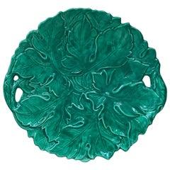 Large Green Majolica Handled Platter Sarreguemines Digoin
