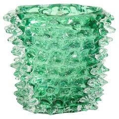 Large Green Murano Glass Spike Vase