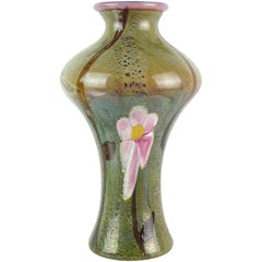 Large Green Pink Opalescent Chalcedony Flower Italian Art Glass Centerpiece Vase