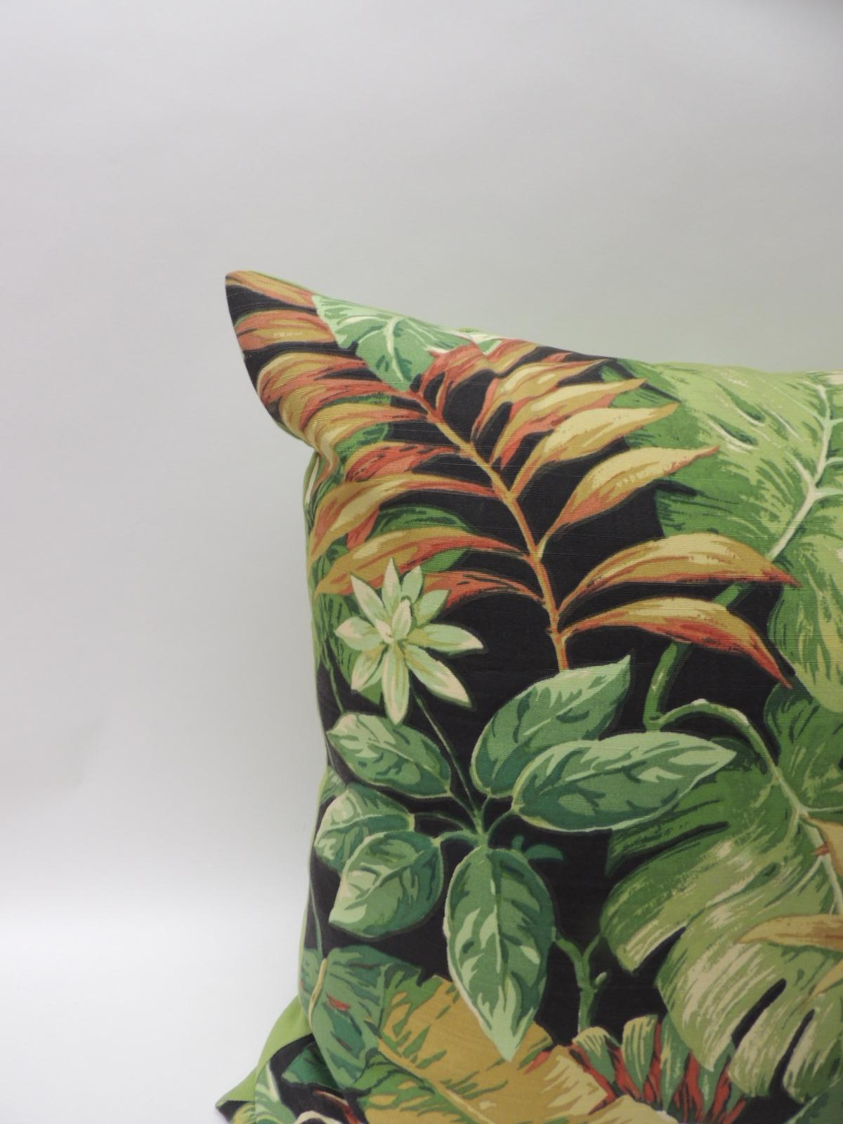 Large Green Tropical Leaf Bark Cloth Decorative Floor Pillow