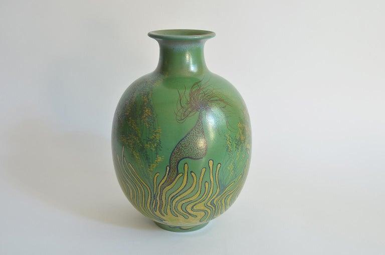Large Green Vase Italian Pottery Marine Fauna Decor by Giacomo Onestini, 1970s 2