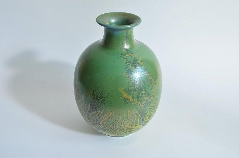 Large Green Vase Italian Pottery Marine Fauna Decor by Giacomo Onestini, 1970s 3