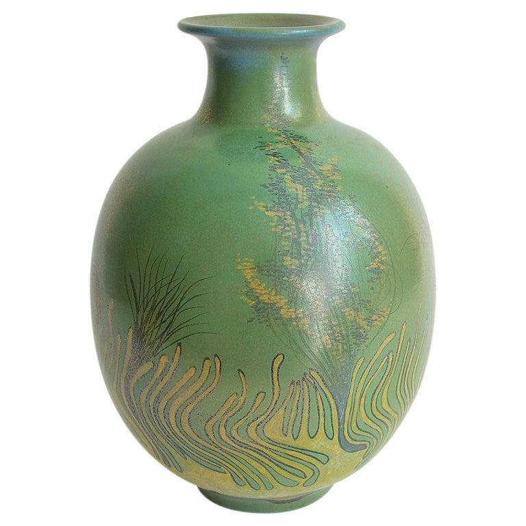 Large Green Vase Italian Pottery Marine Fauna Decor by Giacomo Onestini, 1970s 1