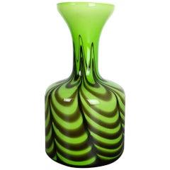 Große Green Vintage Pop Art Opaline Florence Vase Design von Carlo Moretti, Italien