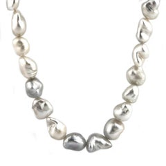 Large Grey, Cream and White Keshi Pearl Necklace on 9 Carat Gold