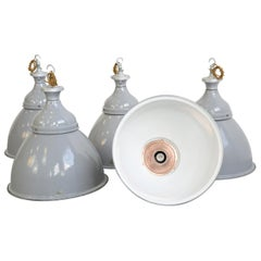 Large Grey Enamel Benjamin Factory Lights, circa 1950s