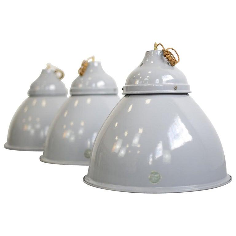 Large Grey Enamel Benjamin Factory Lights circa 1950s V2 For Sale