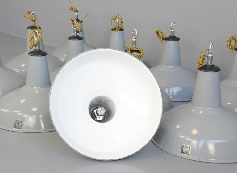 Large Grey Enamel Factory Lights By Benjamin Circa 1950s For Sale 4